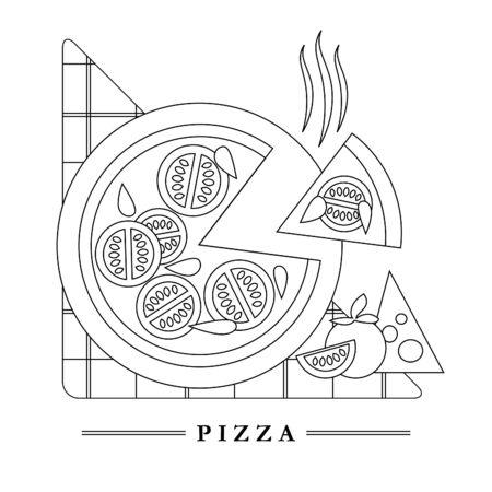 italian kitchen: Traditional Italian kitchen mono line with classic pizza