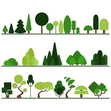 arbres silhouette: Ensemble d'arbres plats dont le pin, les buissons et les plantes de fantaisie