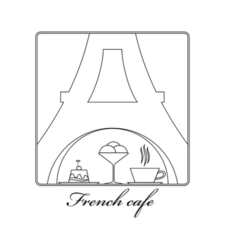 traditional french: Traditional French kitchen mono line with sweet and coffee