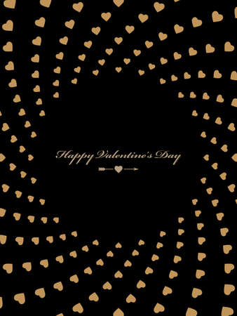amorous: Vector stylish black and gold greeting card Happy Valentine with hearts
