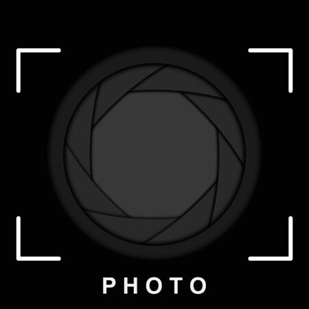 shutter aperture: Black camera shutter aperture with space for copy. Vector background.