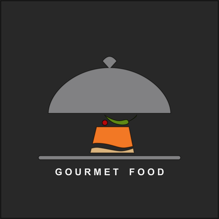 gourmet food: Vector gourmet food on a silver plate and serving dome.