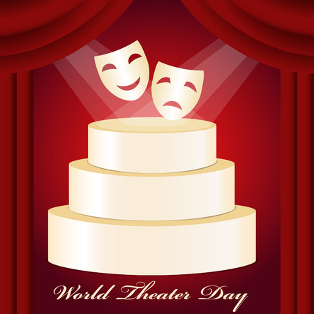 theatrical mask: Theatrical mask, gold podium, red curtain and World Theater Day.