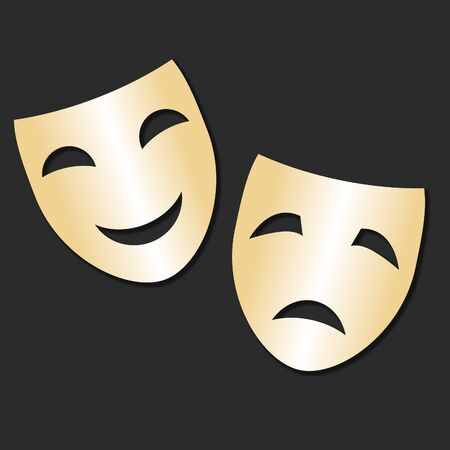 role play: Vector isolated theater gold cheerful and sad mask Theater Day