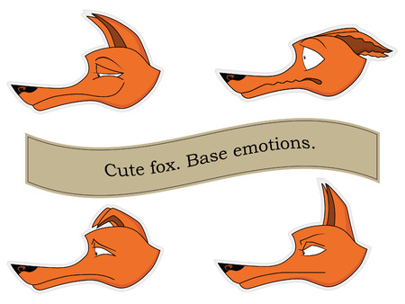 sad love: Cute fox emotions sticker pack. Base emotions. Mini set.
