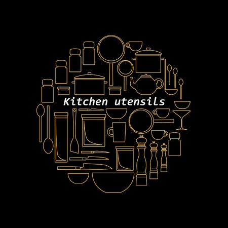 pepper mill: Mono line kitchen utensils logo. Gold objects silhouettes. Illustration