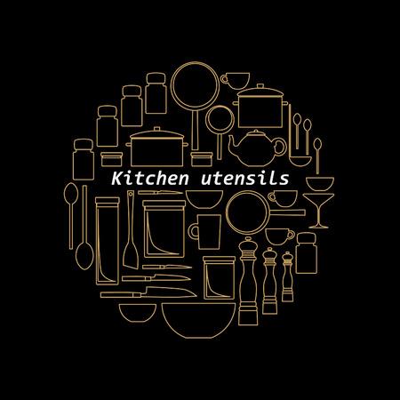 mono: Mono line kitchen utensils logo. Gold objects silhouettes. Illustration