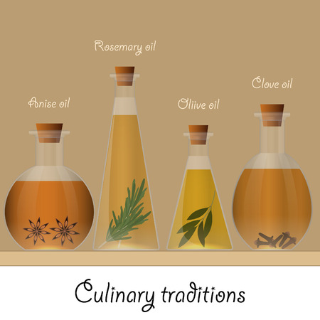 ingredients: Bottles of anise, olive, rosemary and clove oil. Food ingredients.
