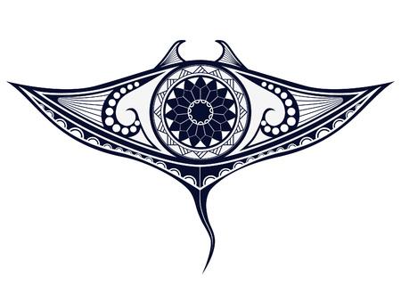 Maori-stijl tattoo patroon in de vorm van Manta Ray. Fit voor schouders en bovenrug. Stock Illustratie