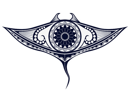 Maori style tattoo pattern in shape of manta ray. Fit for shoulders and upper back.