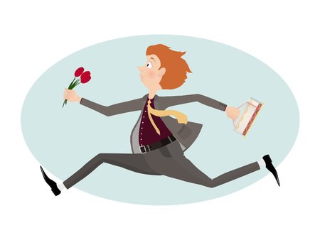 valentine card: Lover man rush to first date with flowers and cake. Valentine day. Illustration.
