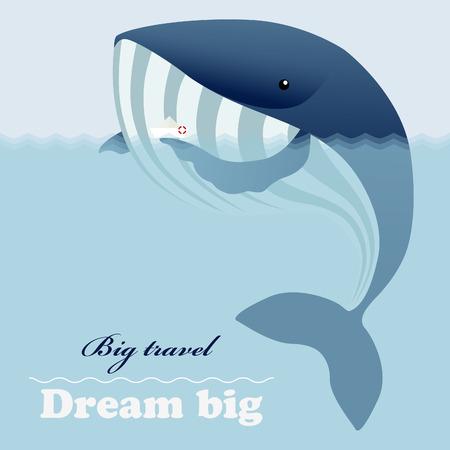 jorney: Huge ocean whale, little ship and inspiring lettering Dream big
