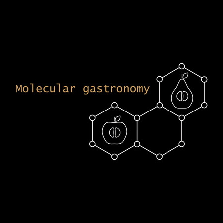 gastronomy: Stylized molecular structure, apple, pear, and text. Molecular gastronomy.