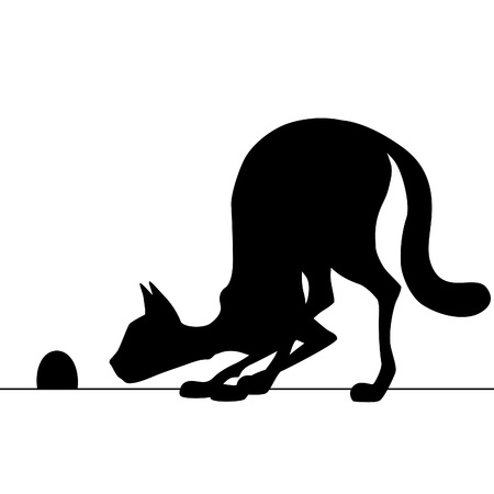 mouse trap: Silhouette cat watching a mouse hole waiting for mouse.