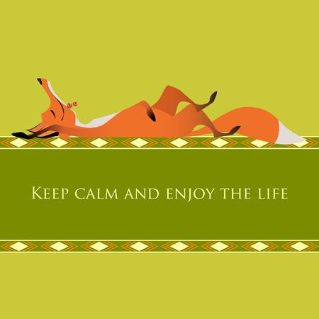 enjoy: Motivational greeting card. Keep calm and enjoy the life. Cute red fox. Vector illustration. Illustration