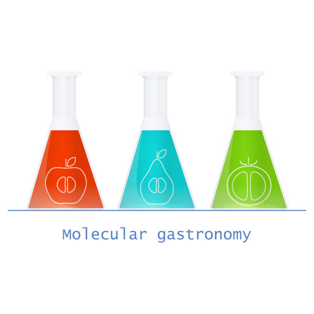 vector  molecular: Abstract molecular structure with products on black backgrounds. Molecular gastronomy. Vector illustration