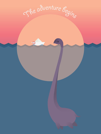 loch ness: Nessie in the Loch Ness lake, ship. Adventure begins. Motivation. Vector illustration. Illustration