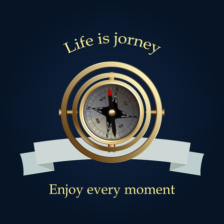 jorney: Vintage brass compass and blue ribbon. Life is jorney. Vector illustration.
