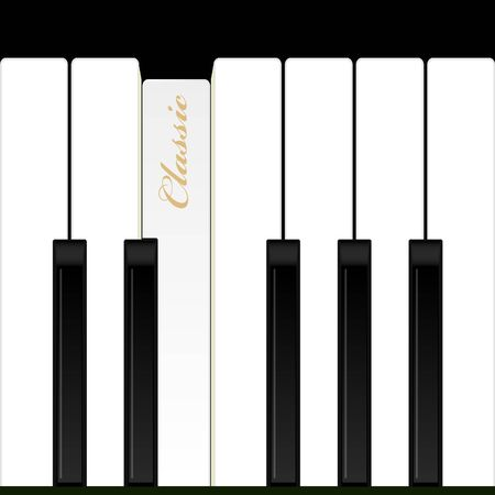 concerto: Top view piano keys. Musical instrument. Vector illustration. Background.
