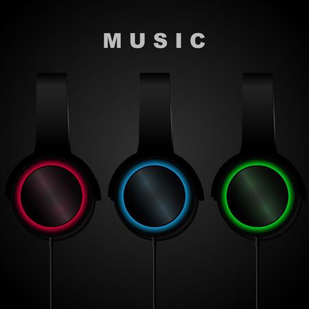 portable audio: Headphone on black background. Music. Vector illistration. Backgrounds.