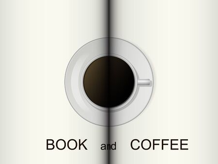 read magazine: Cup of coffee on a opened book. Vector illustration. Background. Illustration