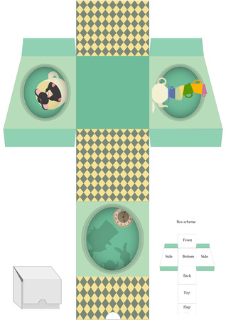 Box template. Gift package. Alice in Wonderland. Vector illustration.