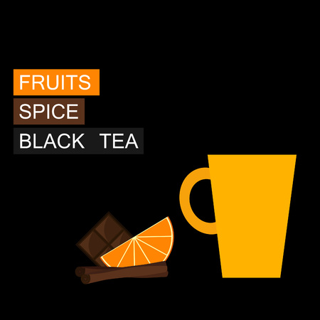 ceylon: Black tea, orange slice, cinnamon. Vector illustration. Background.