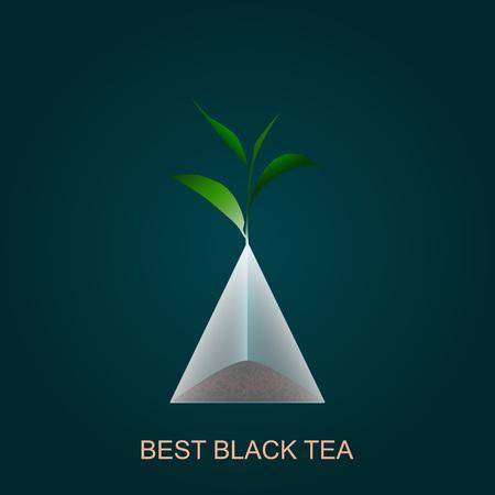 black tea: Isolated pyramid of black tea with branch. Vector illustration. Background. Illustration