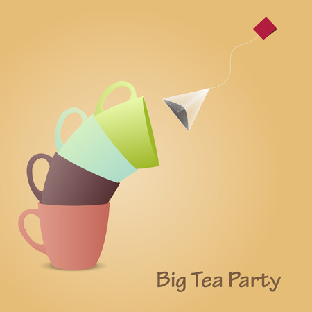 ceylon: Colorfull cups pyramid. Big tea party. Vector illustration. Background. Illustration