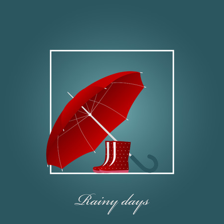 big foot: Red umbrella and bright boots on a rainy day. Vector illustration. Background.