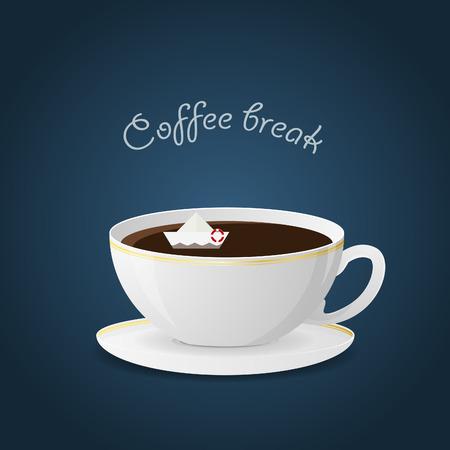 coffee break: Hot beverage and coffee break. Vector illustration. Background.