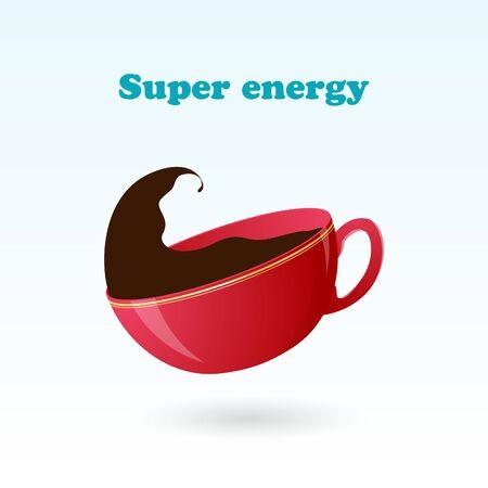 ?offee break. Super energy. Hot beverage. Vector illustration. Background. Illustration
