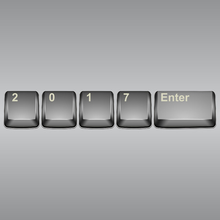 new technology: Year 2017 button on modern computer keyboard image. Vector illustration.
