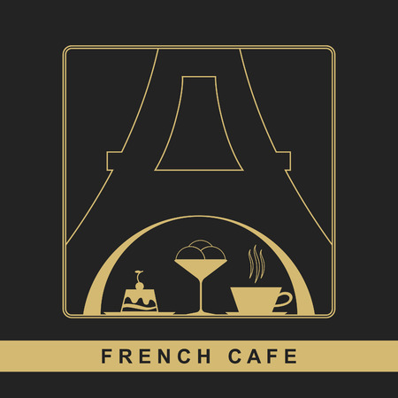 traditional french: Traditional French kitchen mono line logo with sweet and coffee