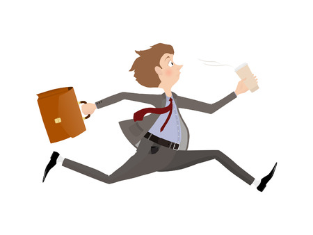 late: Business man late for an appointment. Employee rush to the office to the beginning of the working day. Stock Photo
