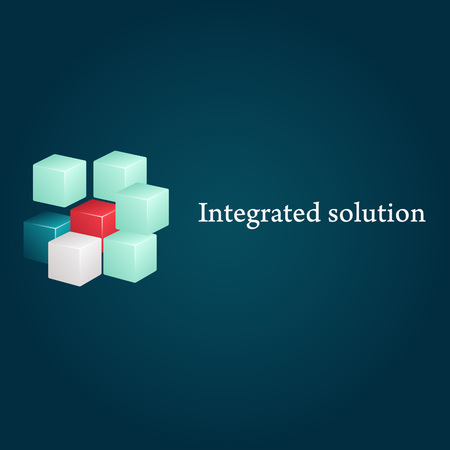 conceptual image: Conceptual image of integrated solution. Logo and text.