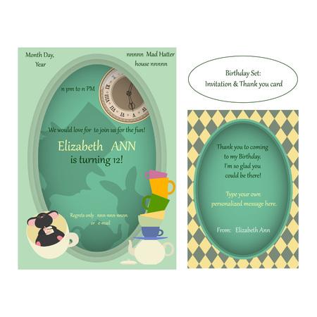 Alice in Wonderland. Mad tea party Birthday Invitation.