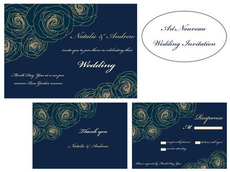 rsvp: Art Nouveau wedding invitation, RSVP, thank you card