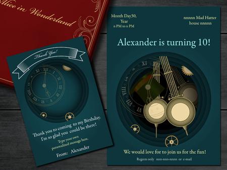 lewis: Alice in Wonderland. Mad tea party Birthday Invitation. Retro illustration.