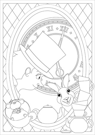 hatter: Coloring Page. Alice in Wonderland. Mad tea party. Hatter Dormouse