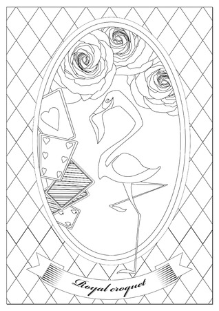Coloring Page. Alice in Wonderland. Royal Croquet. Hatter Dormouse