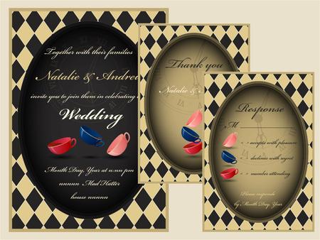 lewis: Alice in Wonderland. Mad tea party wedding invitation set. RSVP. Thank you card.