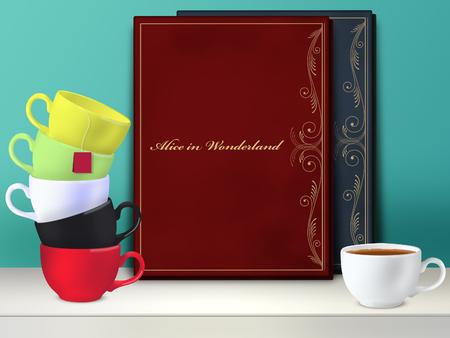 lewis: Alice in Wonderland book. Mad tea party. Mockup Stock Photo