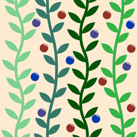 green branches: Green branches and color berries seamless pattern. illustration.