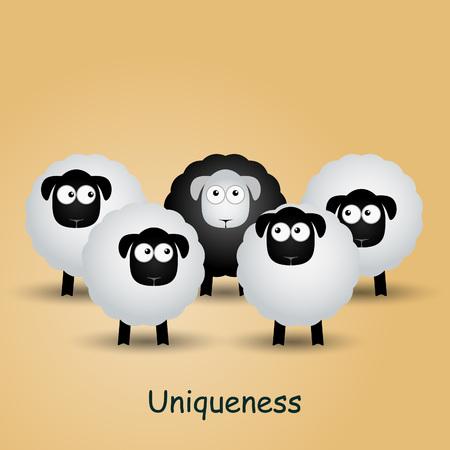 uniqueness: Black unique sheep. Leader, leadership, individuality, ambition uniqueness success illustration