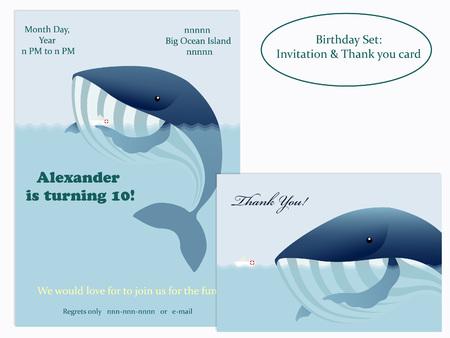 water birth: Big whale and little ship. Birthday Invitation. illustration.