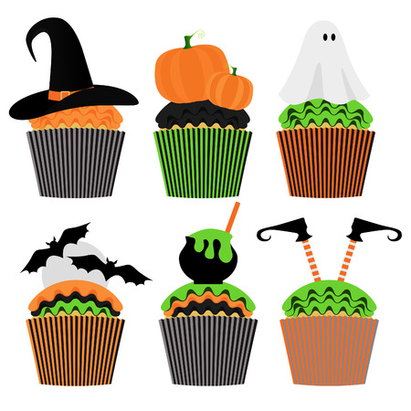 Cupcake set. Happy Halloween Scary Sweets. Party Invitation Design