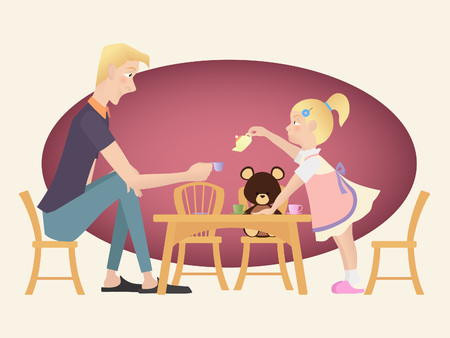 Little kid girl playing tea party with her father. Illustration