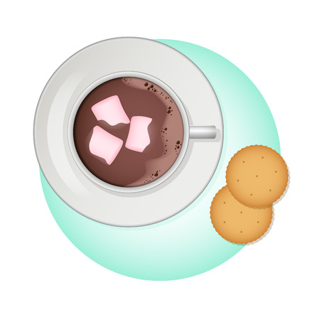 crackers: illustration Cup of cocoa, pink marshmallow and crackers.