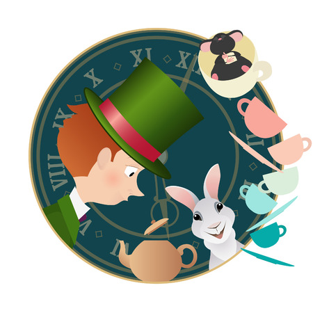 Alice in Wonderland. Mad tea party with Hatter, Dormouse and White Rabbit. Retro illustration.